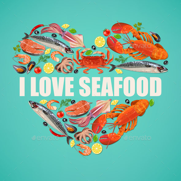 Seafood on Blue Background - Food Objects