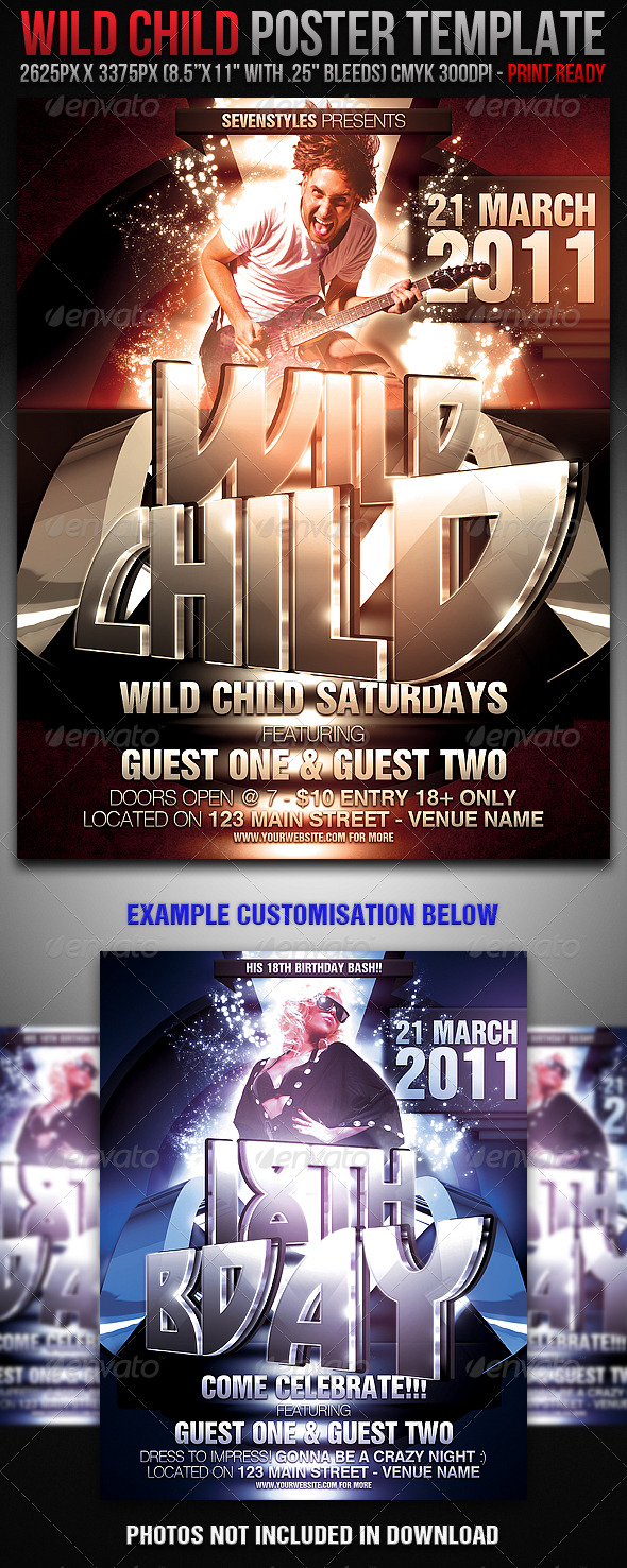 WildChild Poster/Flyer Template - Clubs & Parties Events