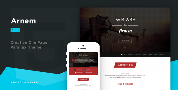 Arnem - Creative One Page Parallax Theme - Creative Site Templates