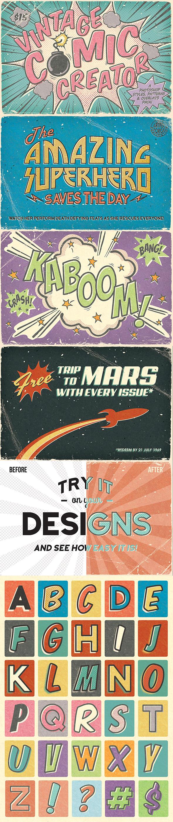 Vintage Comic Creator - Styles Photoshop