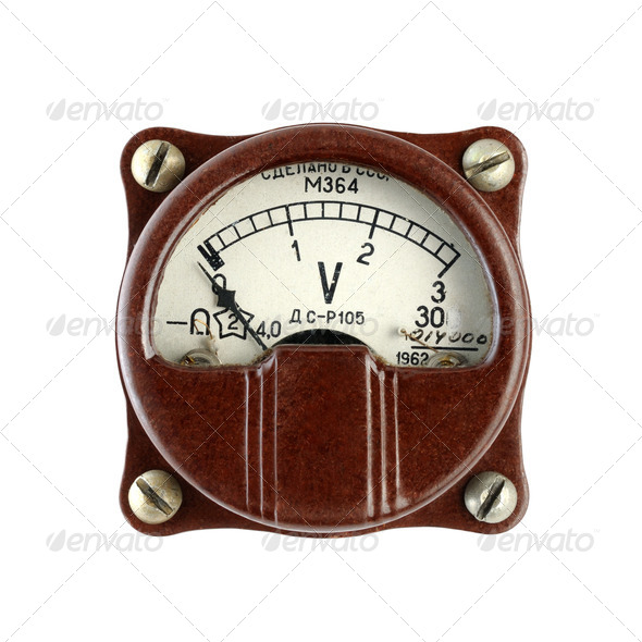 Old Voltmeter Isolated on White Background - Stock Photo - Images