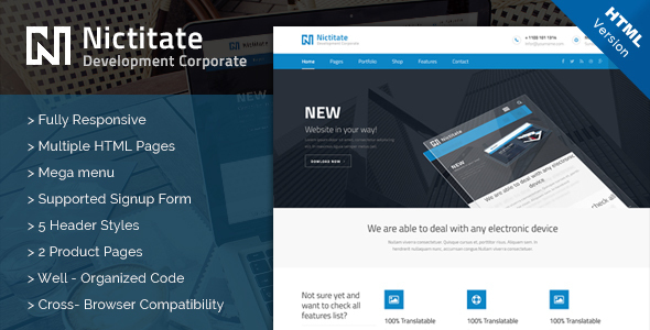 Nictitate – HTML5 Template