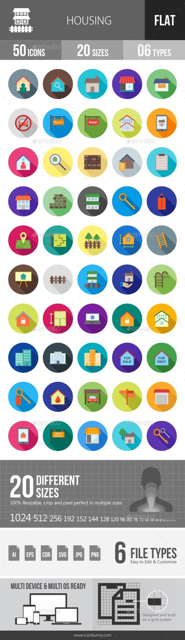 Housing Flat Shadowed Icons - Icons
