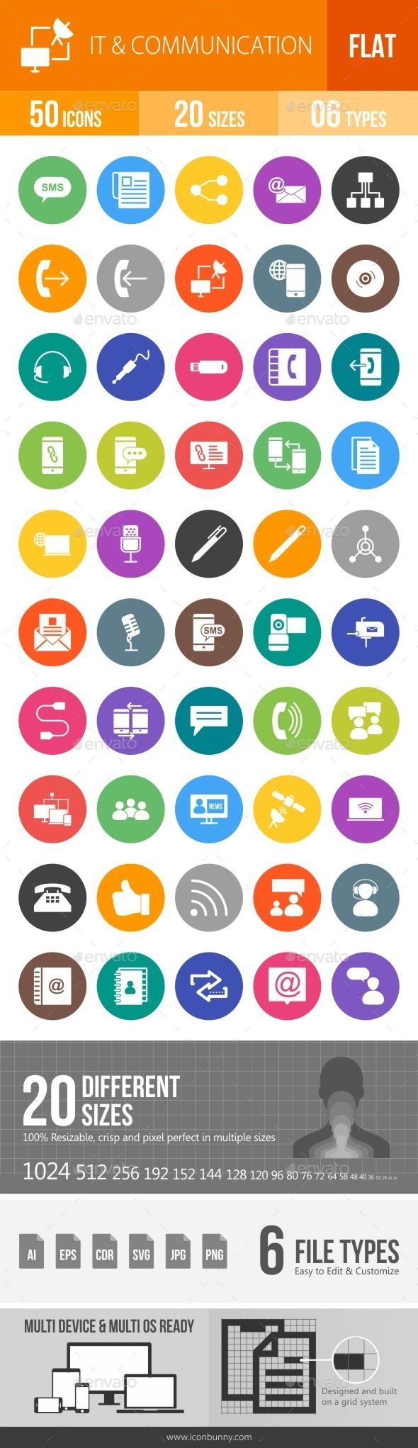 IT & Communication Flat Round Icons - Icons