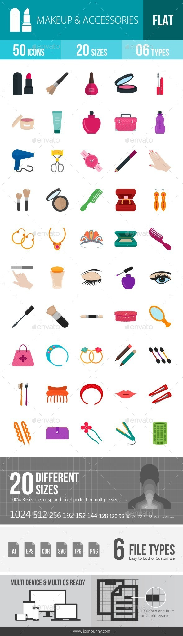 Makeup & Accessories Flat Multicolor Icons - Icons