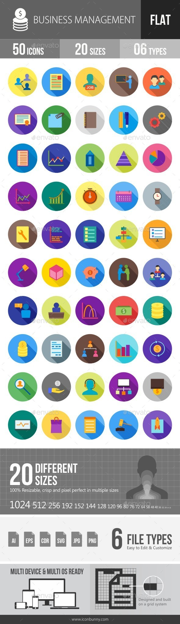 Business Management Flat Shadowed Icons - Icons