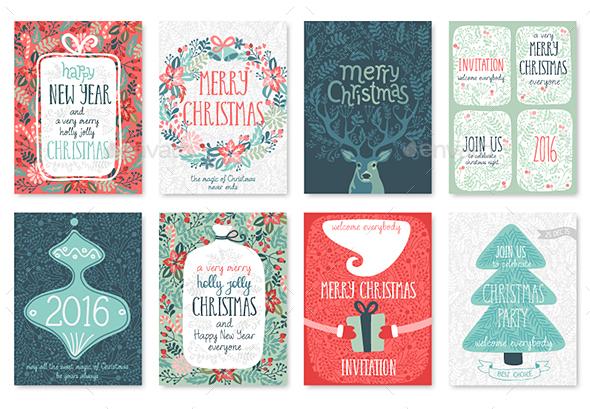 Christmas Hand Drawn Card Set. - Christmas Seasons/Holidays
