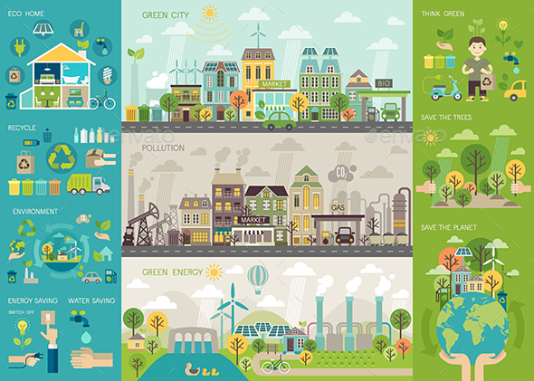 Green City Infographic - Industries Business