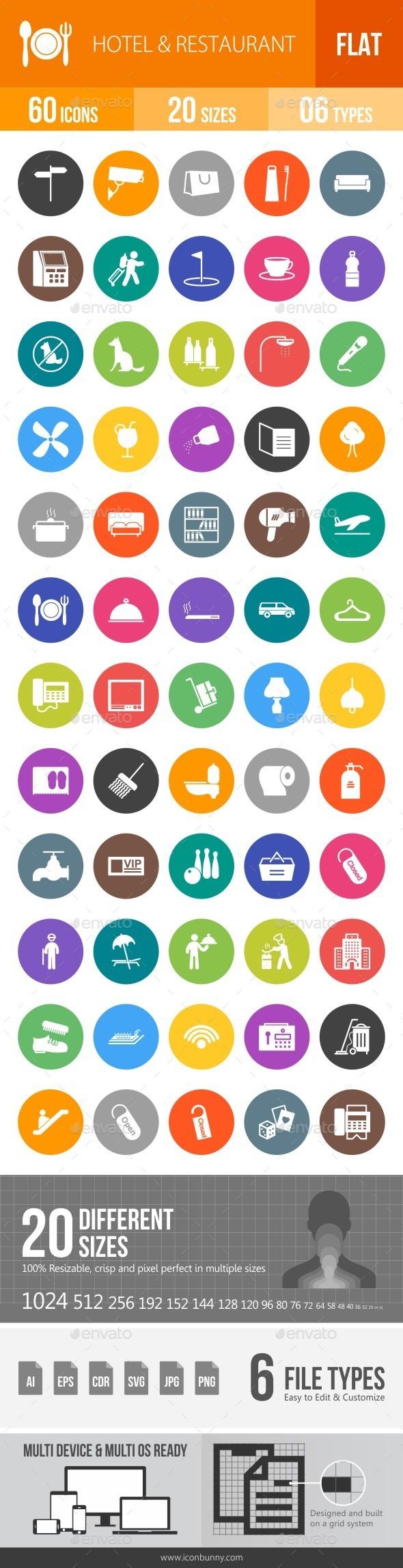 Hotel & Restaurant Flat Round Icons - Icons