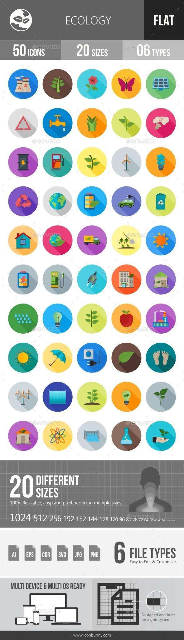 Ecology Flat Shadowed Icons - Icons