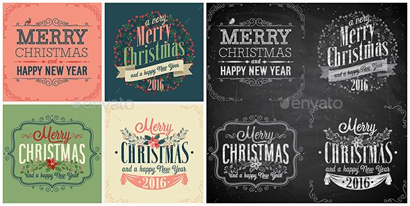 Set of Christmas emblems. - Christmas Seasons/Holidays