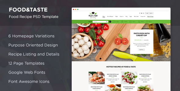 Food taste recipe psd template by suniljoshi themeforest food taste previewsscreen01g forumfinder Image collections