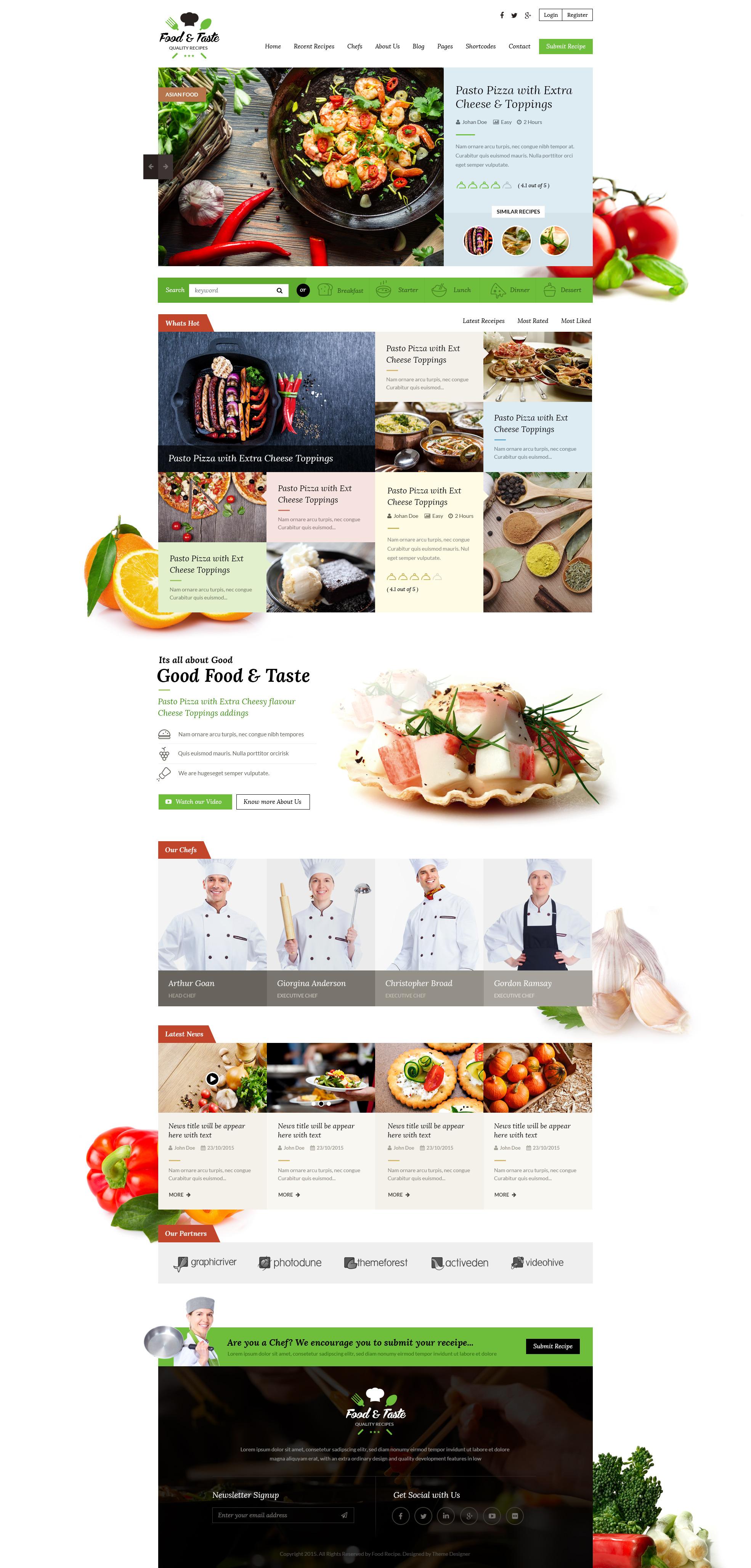 Food & Taste - Recipe PSD Template by suniljoshi | ThemeForest