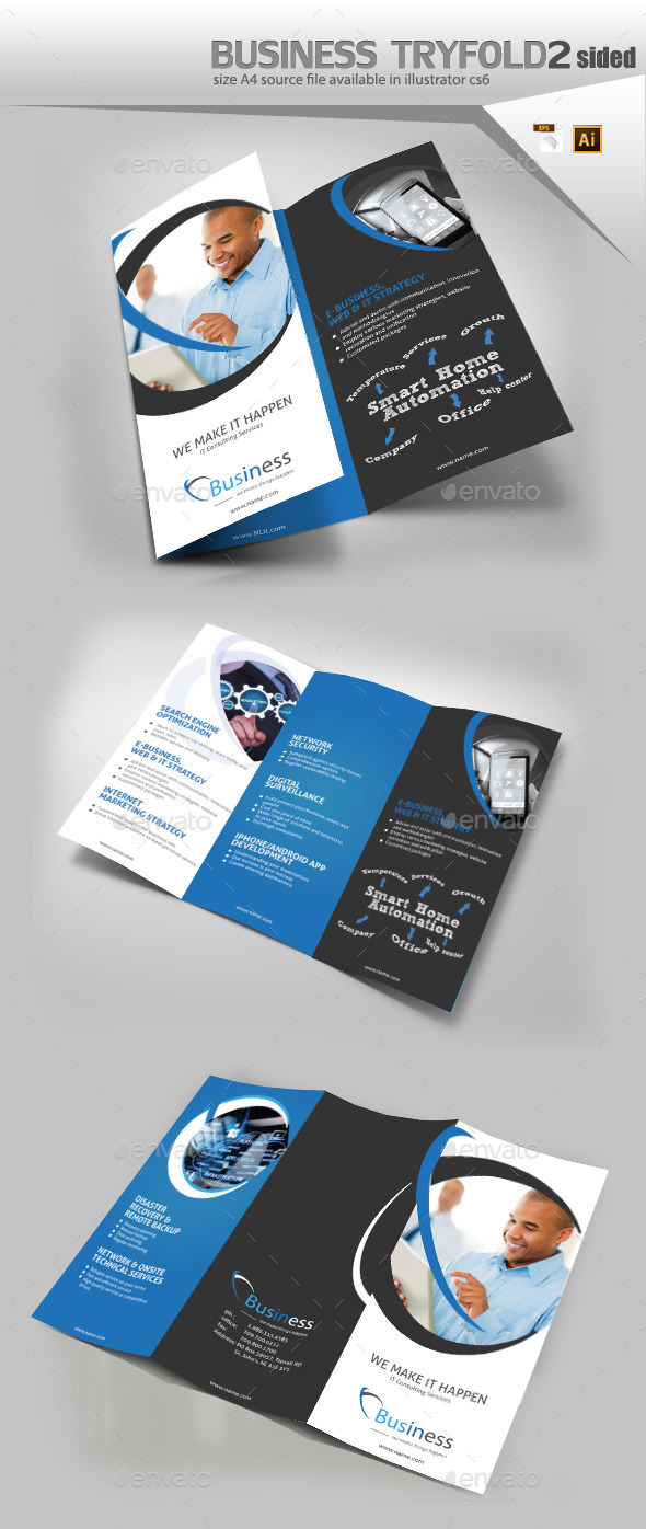 Business Three Fold Brochure  - Brochures Print Templates