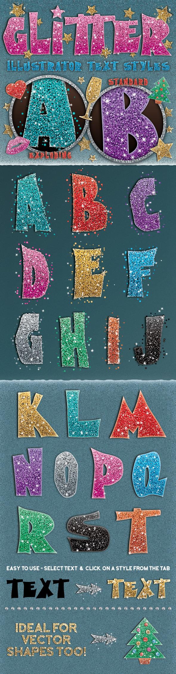 Glitter Styles - Styles Illustrator