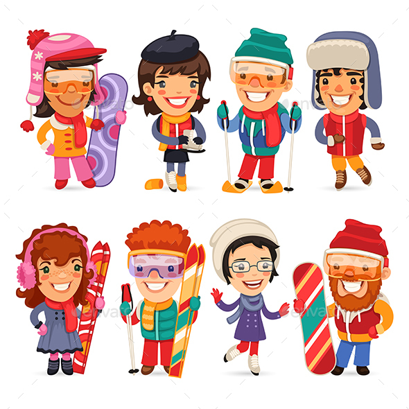Cute Cartoon Skiers, Skaters and Snowboarders - People Characters