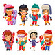 Cute Cartoon Skiers, Skaters and Snowboarders - GraphicRiver Item for Sale