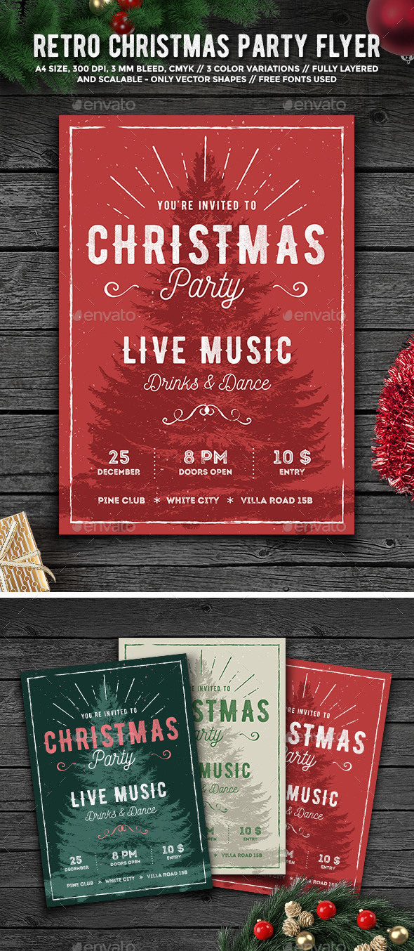 Rustic Christmas Party Flyer