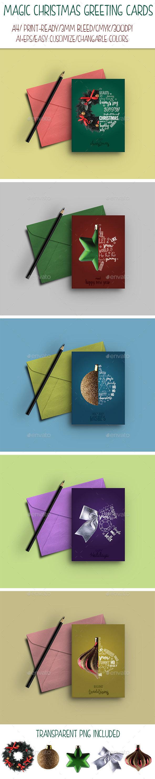 Magic Christmas Greeting Cards - Cards & Invites Print Templates