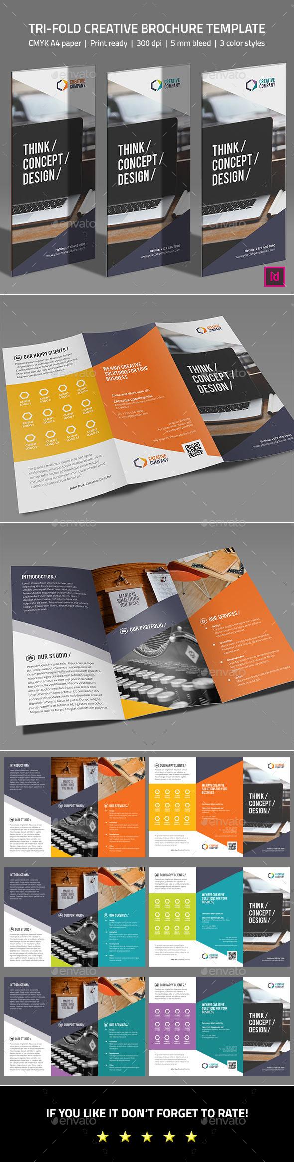 Tri-fold Creative Brochure Template - Corporate Brochures