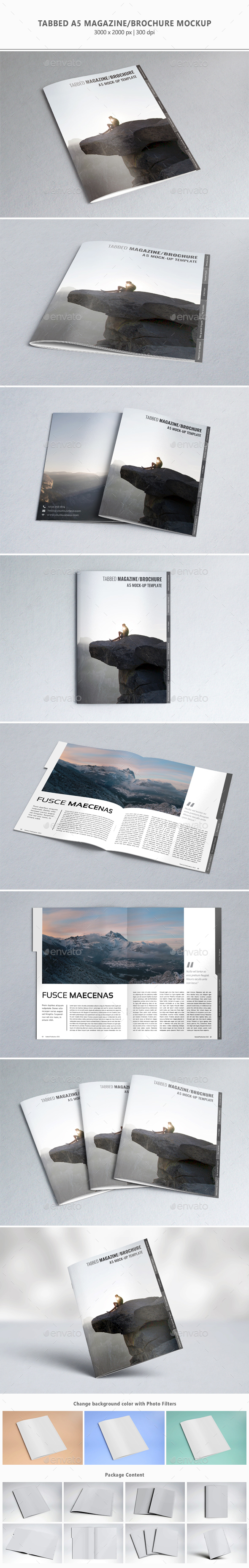 Tabbed A5 Magazine/Brochure Mock-up - Magazines Print