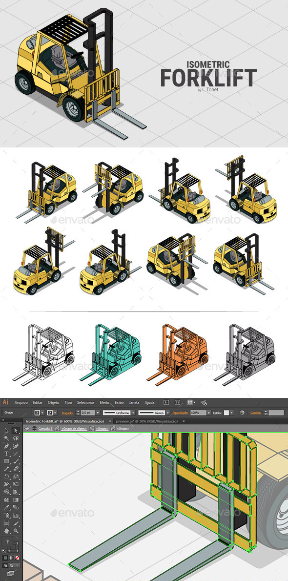 Isometric Forklift - Man-made Objects Objects