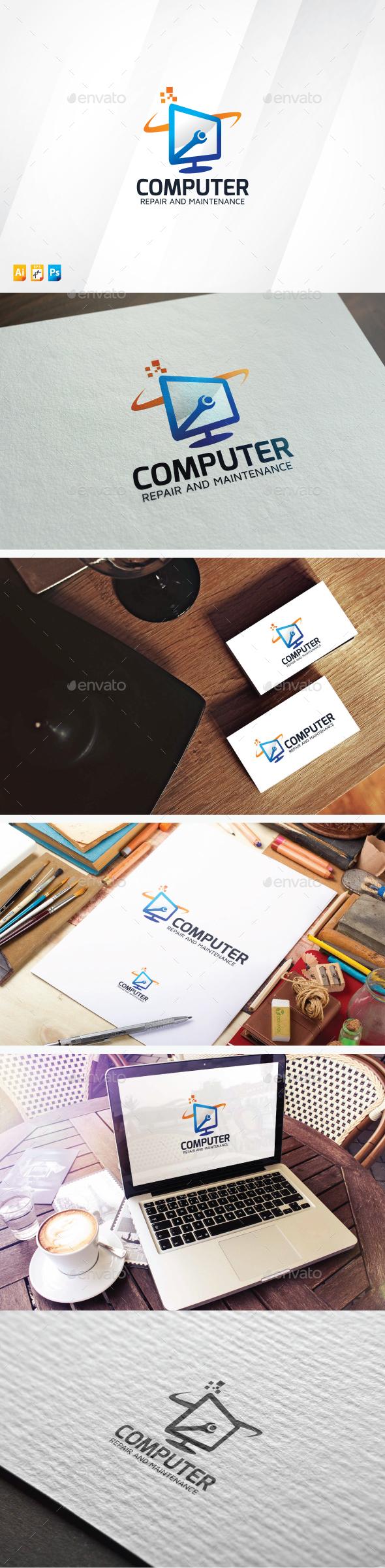 Computer Maintenance - Objects Logo Templates