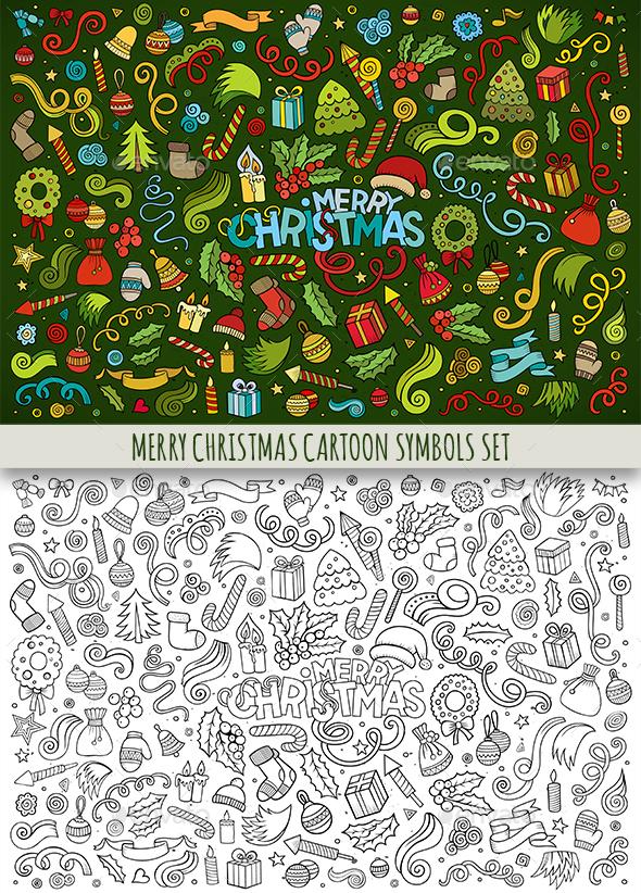 Merry Christmas Doodles Objects Set - Christmas Seasons/Holidays