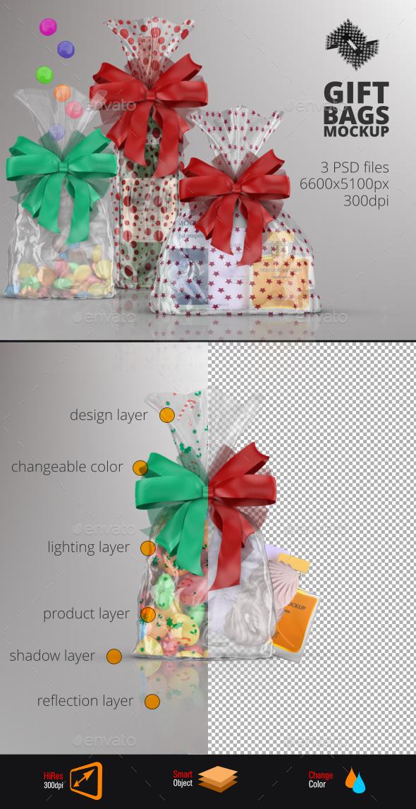 Clear Gift Bag Mockup - Packaging Product Mock-Ups
