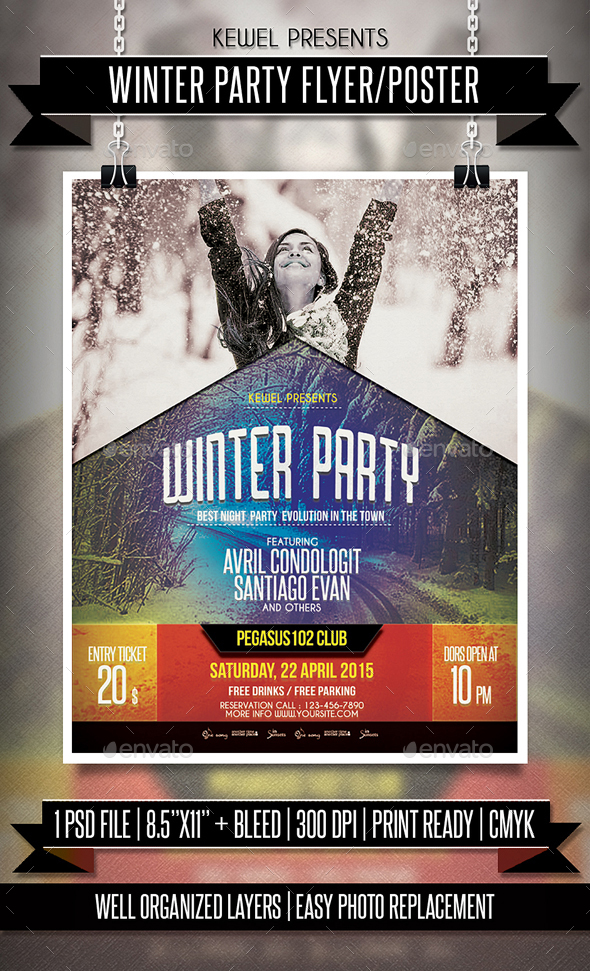 Winter Party Flyer / Template - Clubs & Parties Events