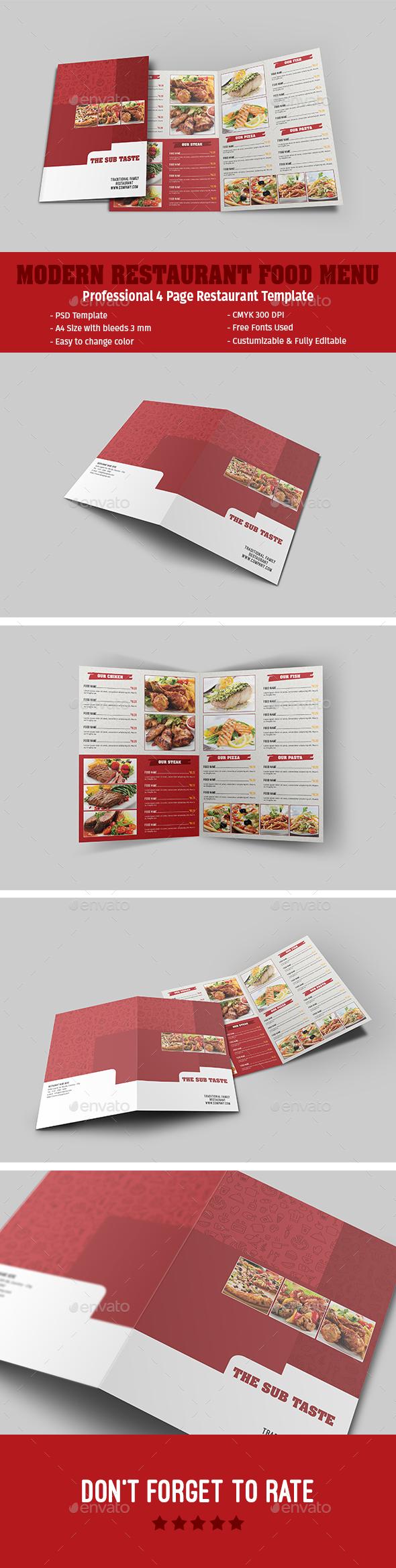 Modern Restaurant Food Menu - Food Menus Print Templates