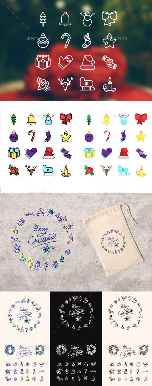Christmas 16 Icons Set - Seasonal Icons