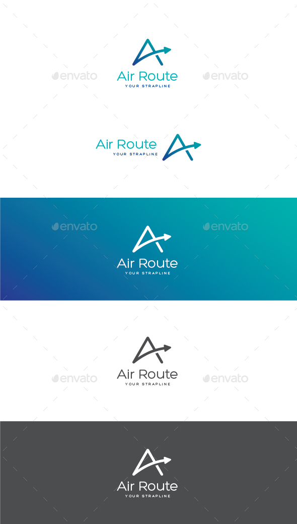 Air Route Letter A Logo - Letters Logo Templates