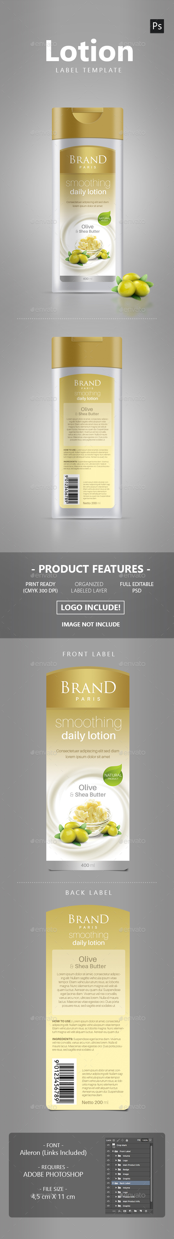 Lotion Packaging Label - Packaging Print Templates