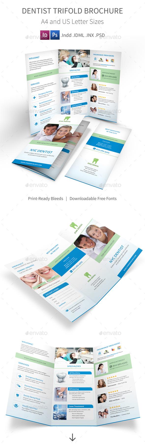 Dentist Trifold Brochure - Informational Brochures