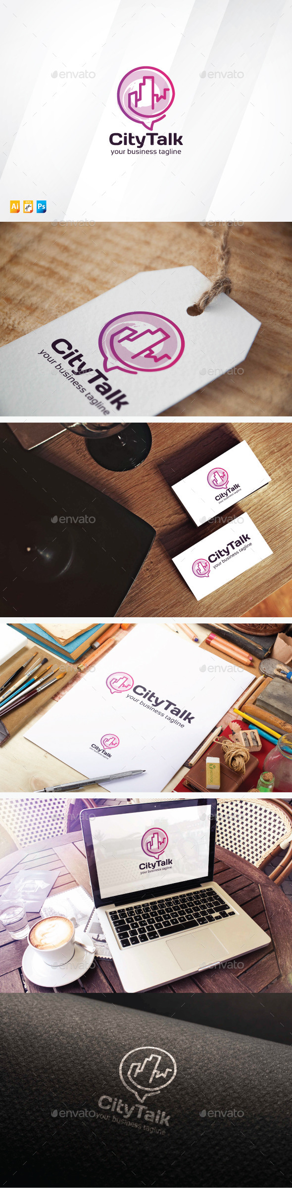 City Talk - Buildings Logo Templates