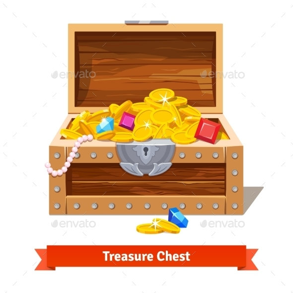 Treasure Chest Full of Gold Coins and Crystal Gems - Man-made Objects Objects