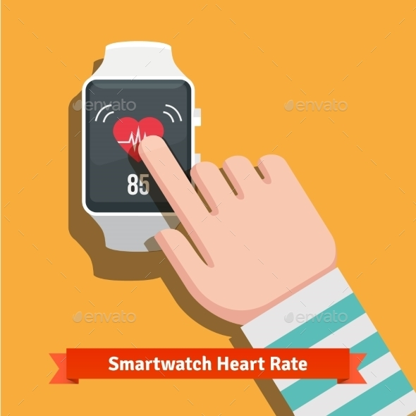 White Smart Watch Showing Heart Beat Rate App - Health/Medicine Conceptual