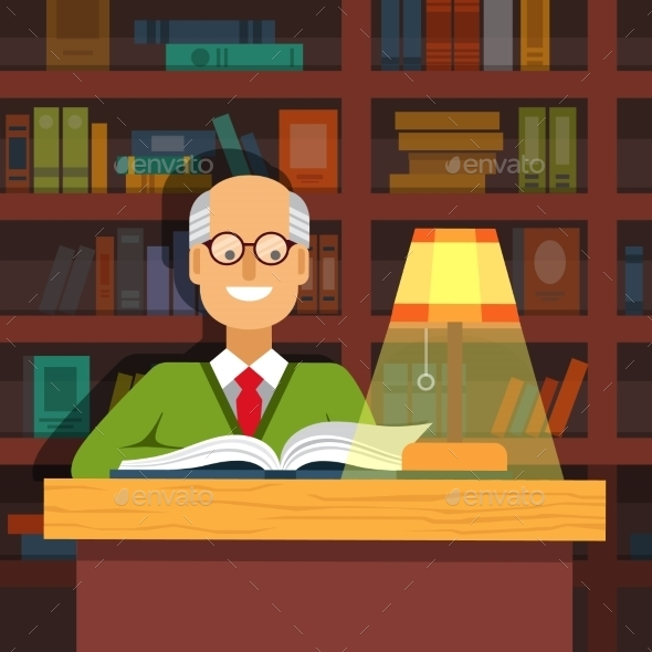 Old Professor in Glasses Reading a Book - People Characters
