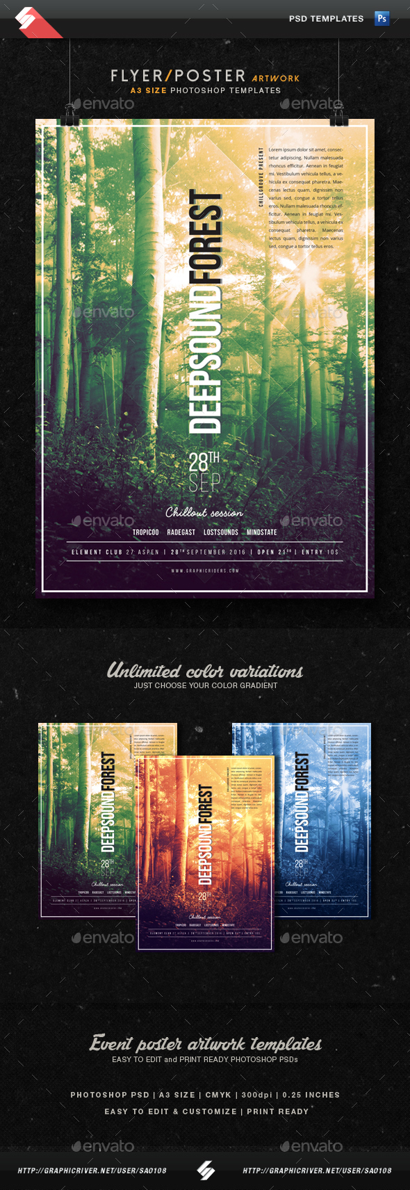 Deep Sound Forest - Chillout Flyer Template A3 - Clubs & Parties Events