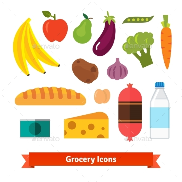 Classic Vegetables, Fruits and Groceries - Food Objects