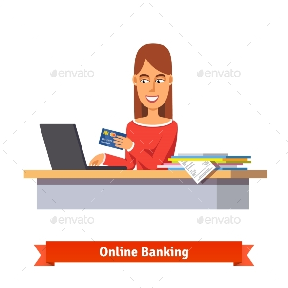 Bank Clerk at the Table Issuing a Credit Card - Concepts Business