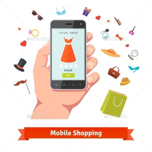Woman Mobile Online Shopping - Retail Commercial / Shopping