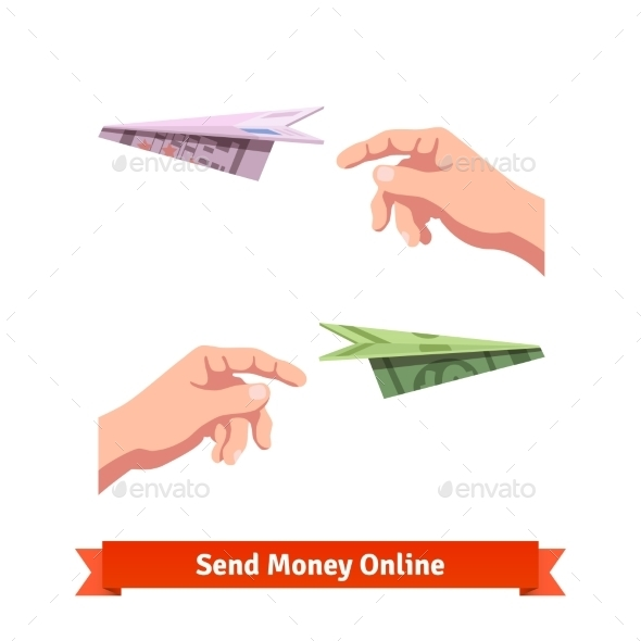 Hands Throwing a Dollar and Euro Paper Planes - Miscellaneous Conceptual