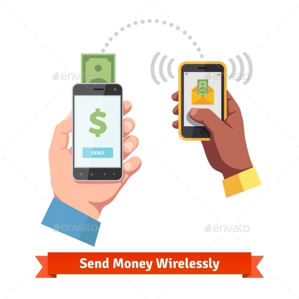 People Sending and Receiving Money with Smartphone - Communications Technology