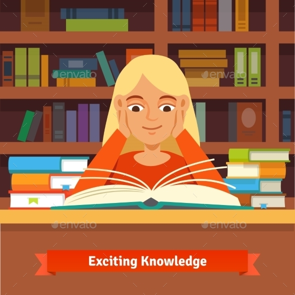 Young Blonde Girl Reading Book in a Library - People Characters