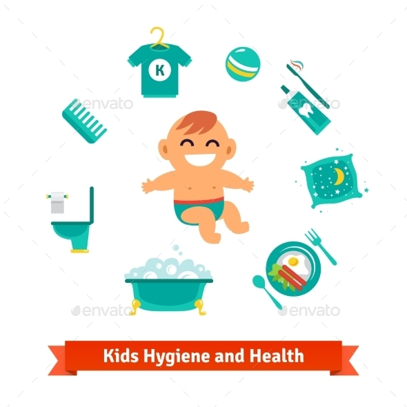 Kids Health And Hygiene Icons - People Characters