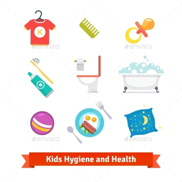 Kids Health And Hygiene - Objects Icons