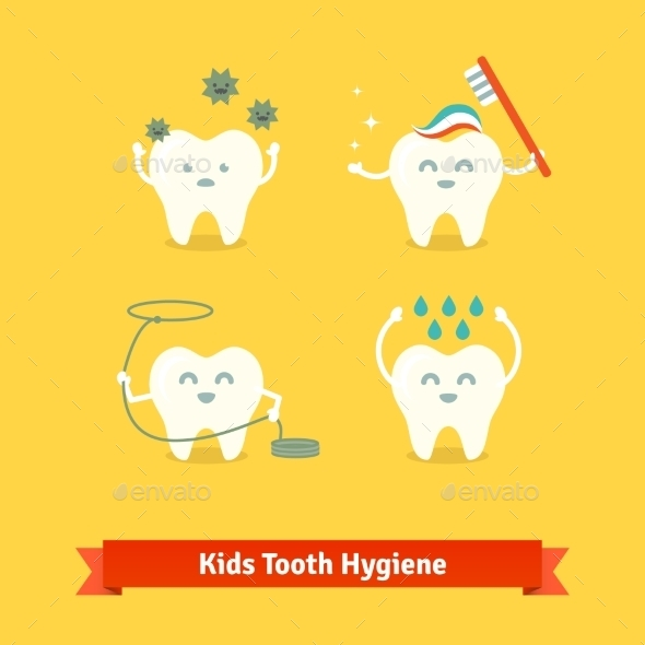 Children Teeth Care And Hygiene - Objects Icons