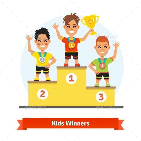 Kids Sport Winners Standing on Podium - Sports/Activity Conceptual